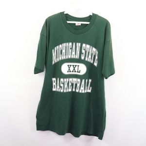 90s Mens XL Michigan State Spartans T Shirt Green